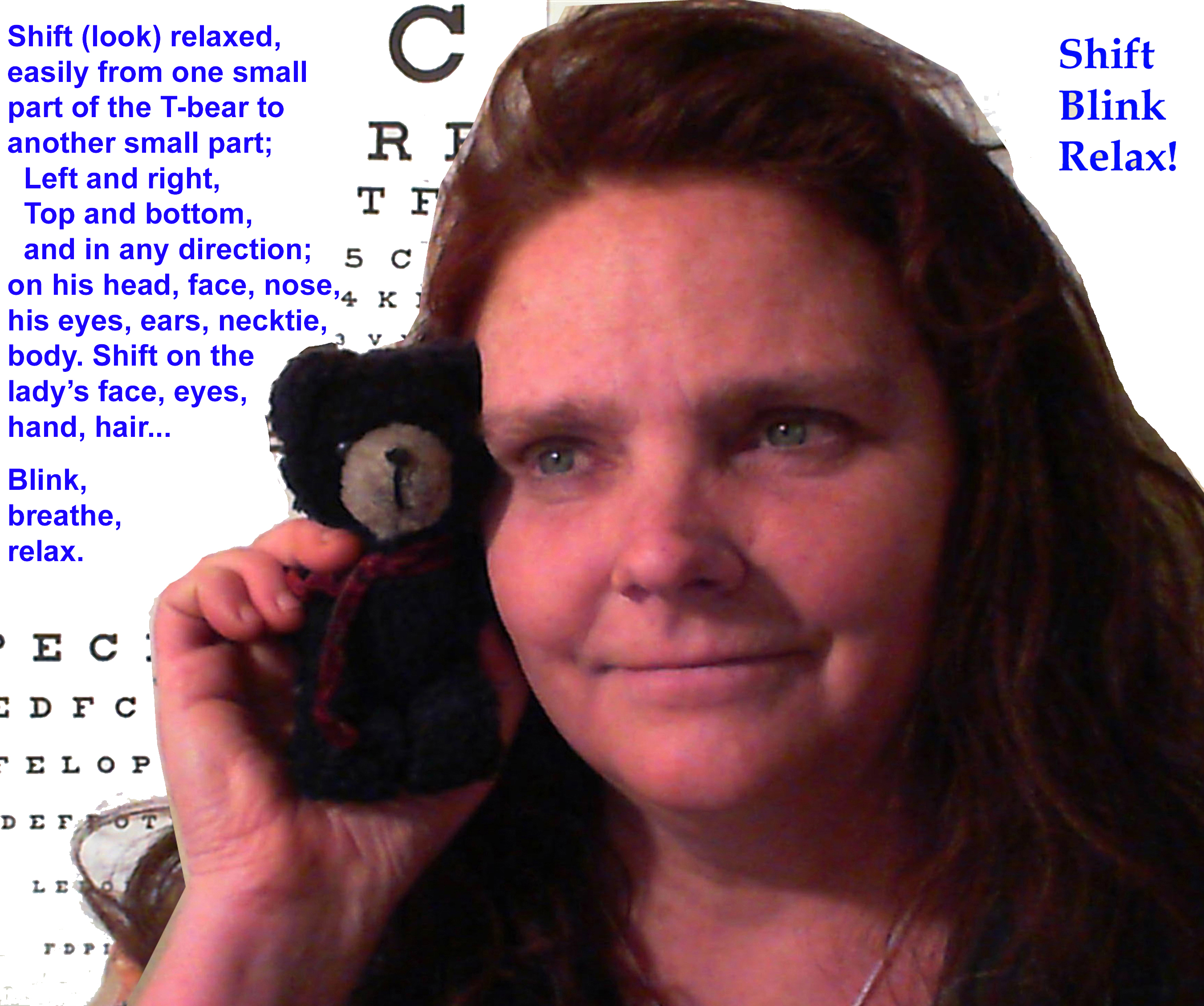 Website, book Author Mary I. Oliver (Pen Name-Clark Night) teaching Natural Eyesight Improvement with T-Bear! For kids and Adults.