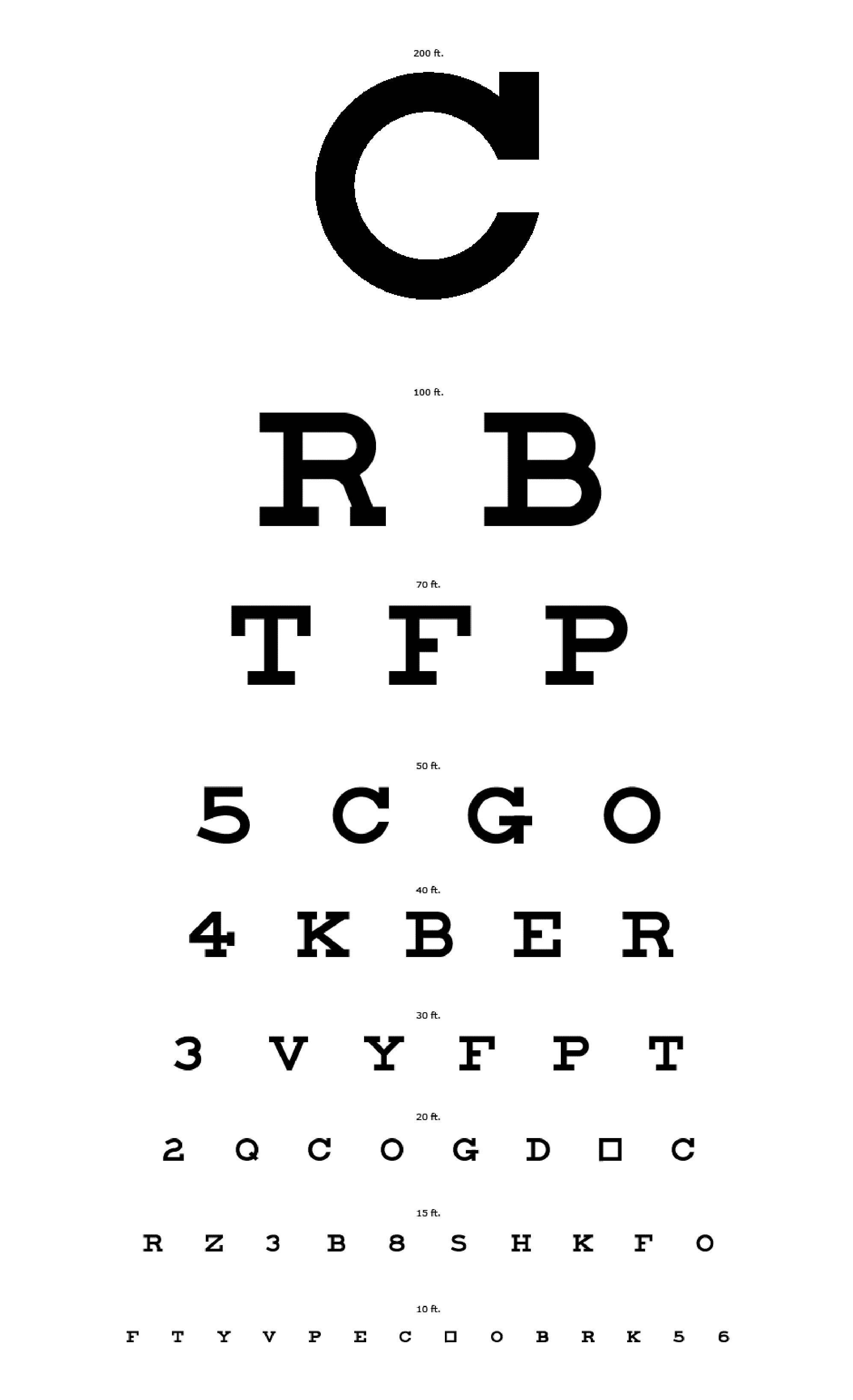 Big C Eyechart Print Large or Small for Far or Close Eyesight