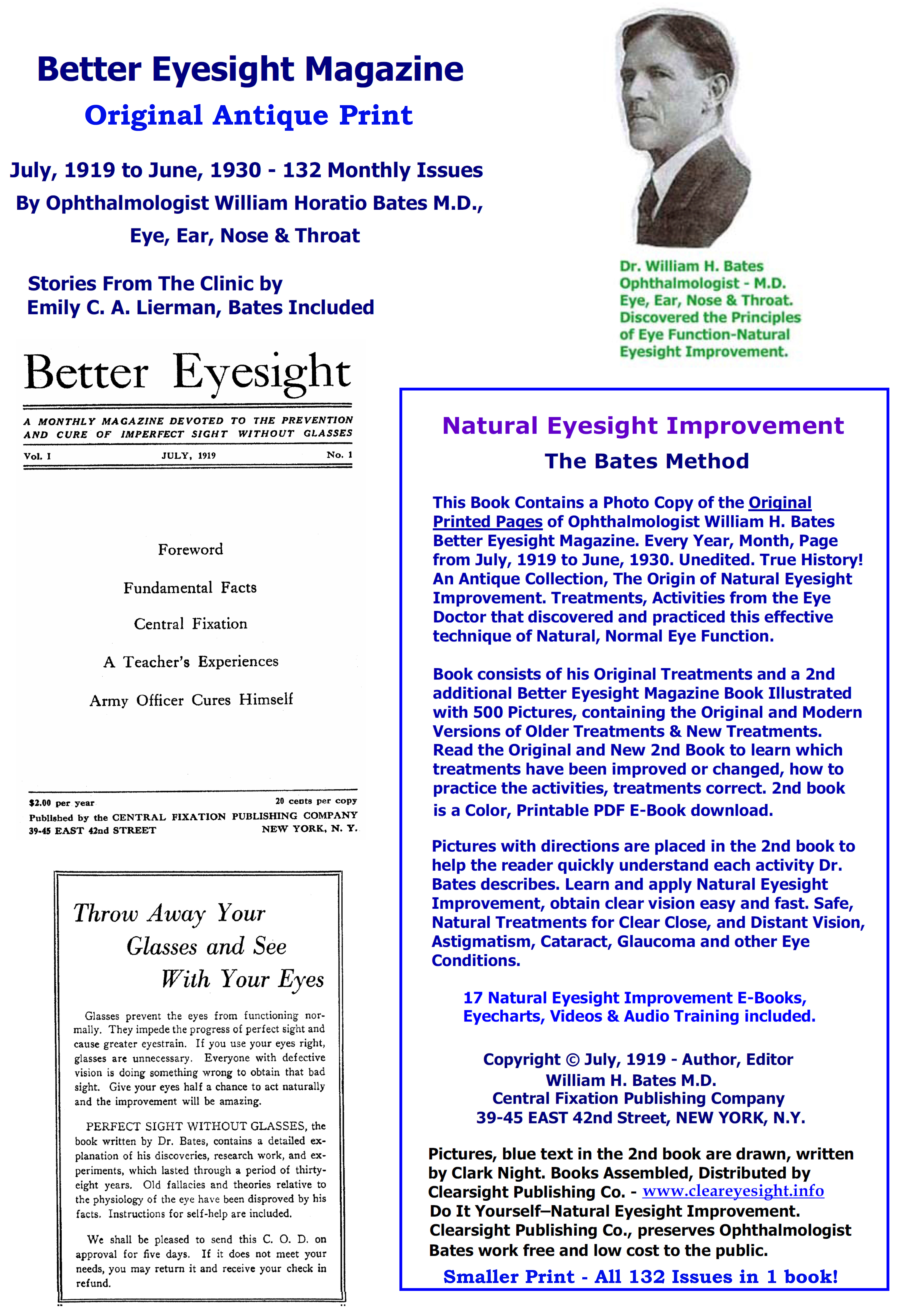 Better Eyesight Magazine - 132 Issues, 2400+ Pages  in Small Print. Original, Antique