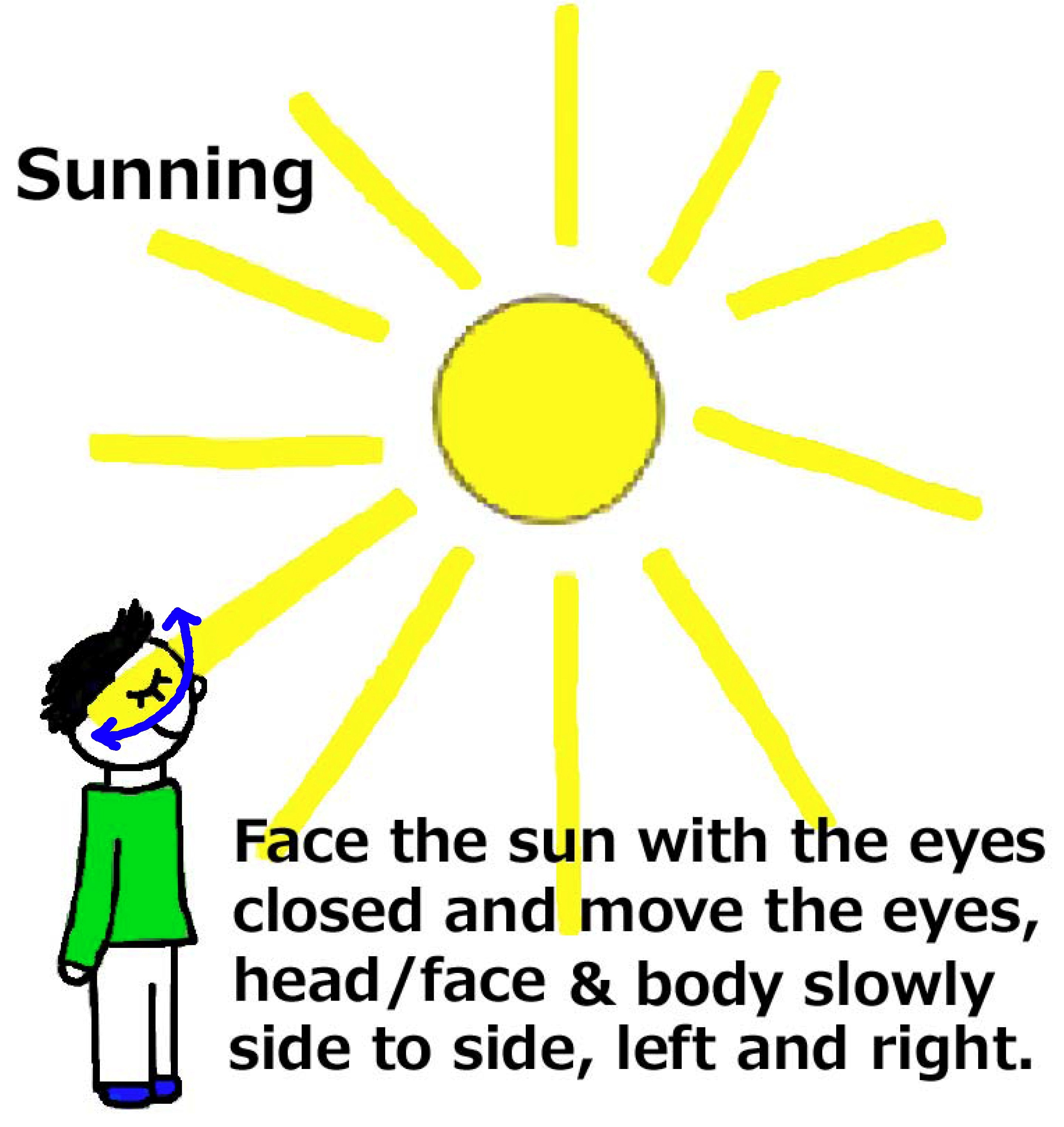 Sunning - Move the head/face and eyes side to side...